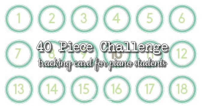 40 Piece Challenge Chart for Piano Students