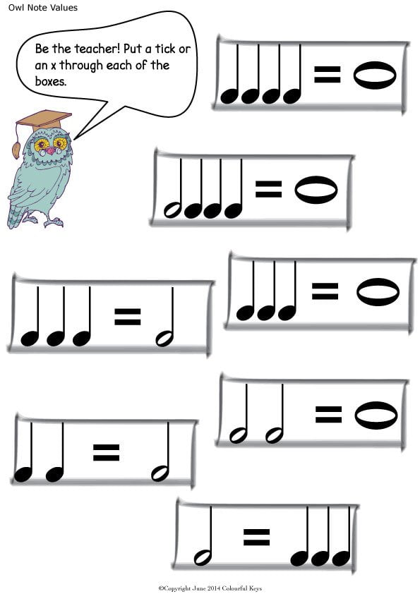 Note values worksheets with Owls and Balloons Colourful Keys – Note Value Worksheet