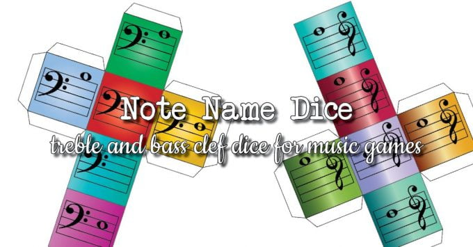 Treble and Bass Clef Notes Dice for Music Games