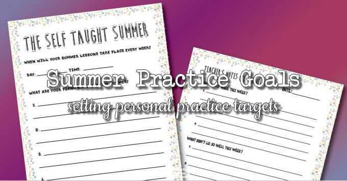 Personal piano practice goals
