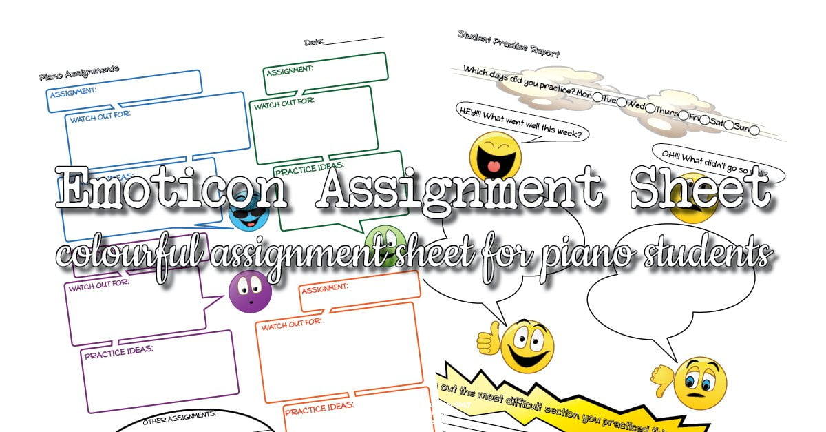 Emoticon piano assignment sheet