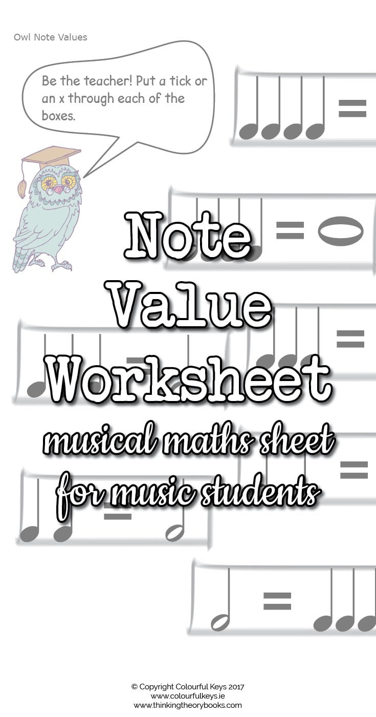 worksheet Note Values Worksheet note values worksheets with owls and balloons colourful keys value worksheets