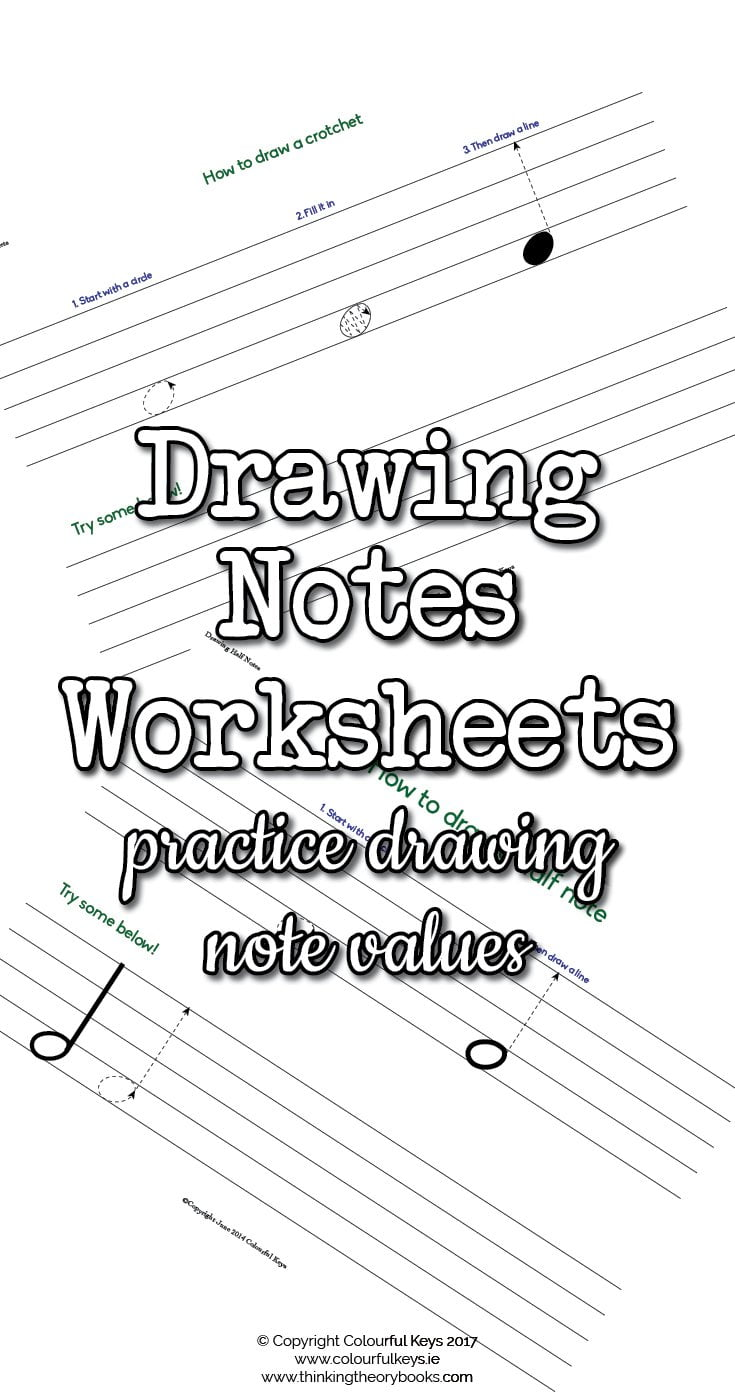 Worksheets for drawing half notes and quarter ntoes