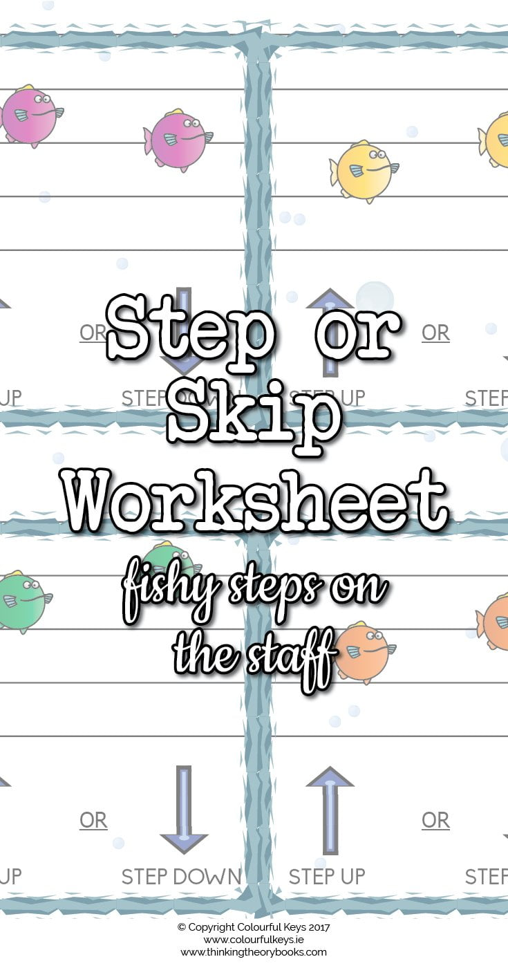 Fishy steps on the staff worksheet for music students