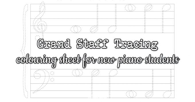 Grand Staff Tracing and Colouring Worksheet