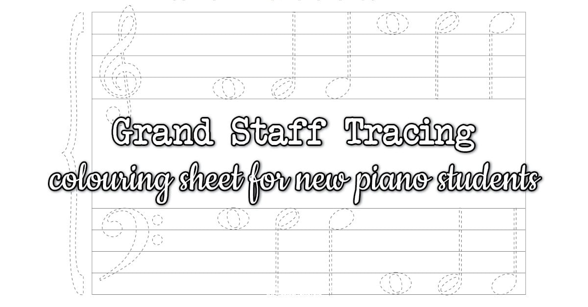 Grand staff colouring worksheet for piano students