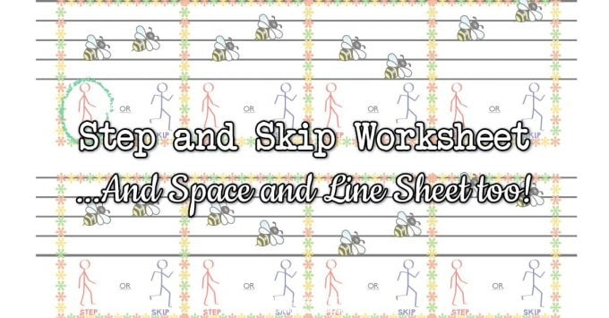 Step or Skip & Space or Line Music Worksheets