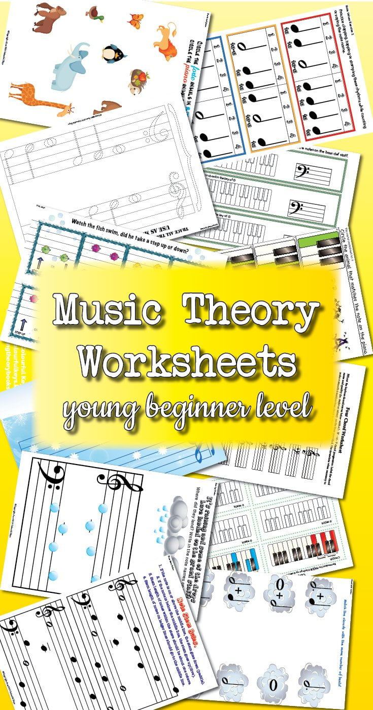 Theory Worksheet Catalogue for young beginner piano students