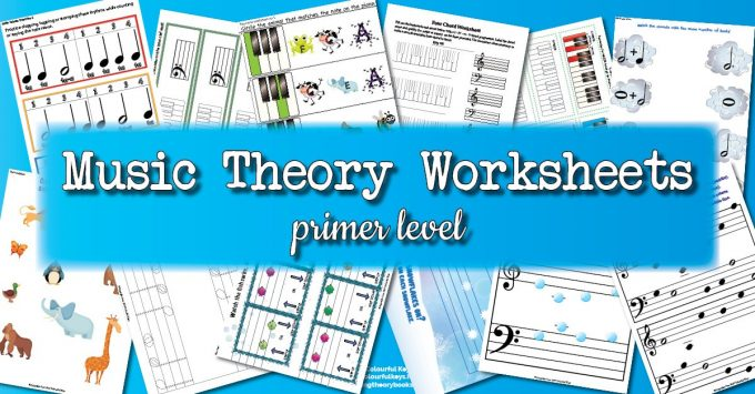 Theory Worksheet Catalogue for primer level piano students