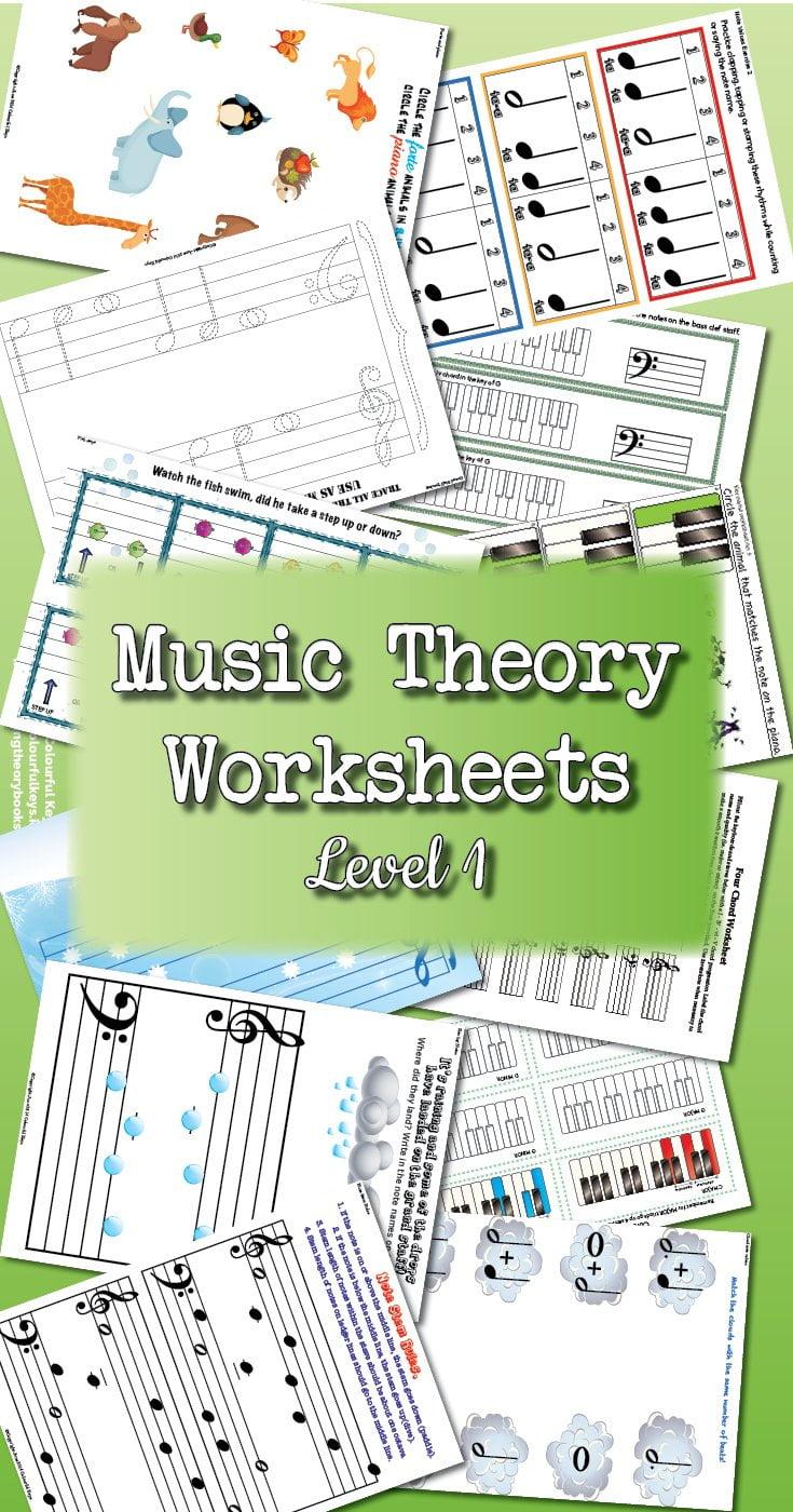 Theory Worksheet Catalogue - Level 1 - Colourful Keys