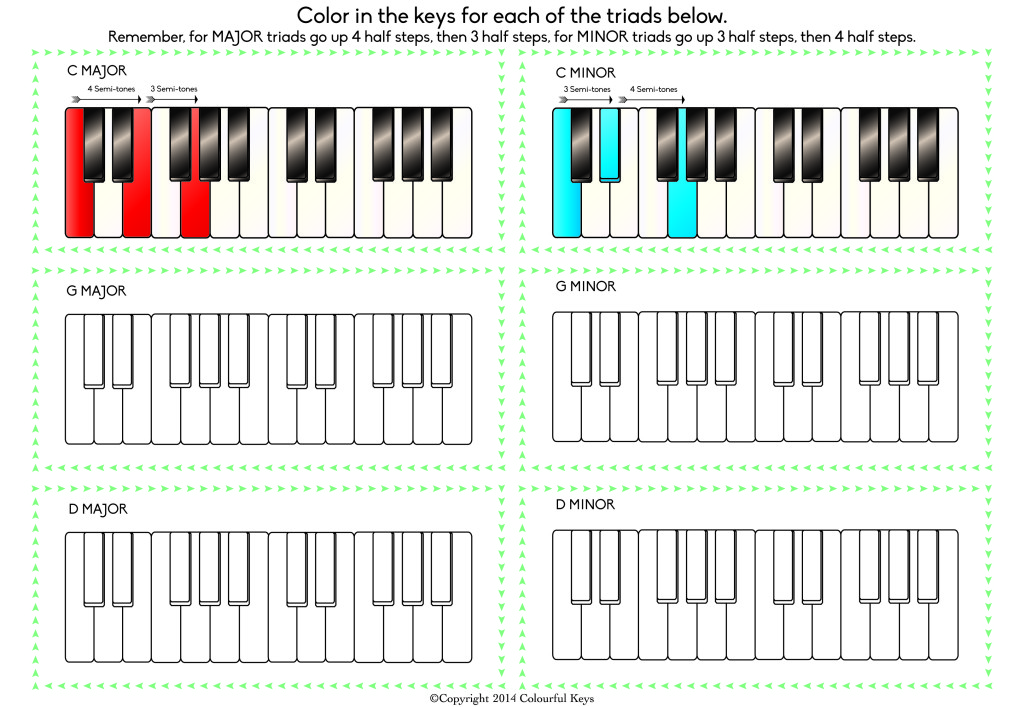 major and minor chords worksheet colourful keys. Black Bedroom Furniture Sets. Home Design Ideas