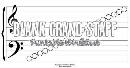 Blnak notes on grand staff worksheets