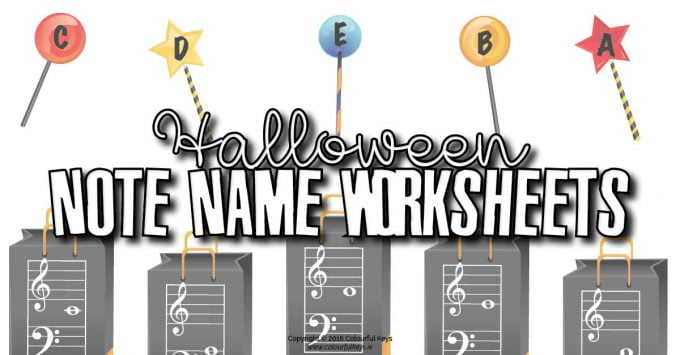 Halloween Note Name Worksheets – Themed Note Name Review