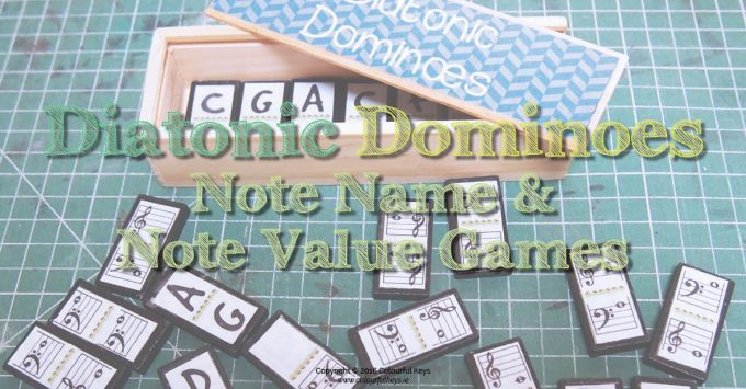 Diatonic Dominoes – Note Name and Note Value Game for Piano Students