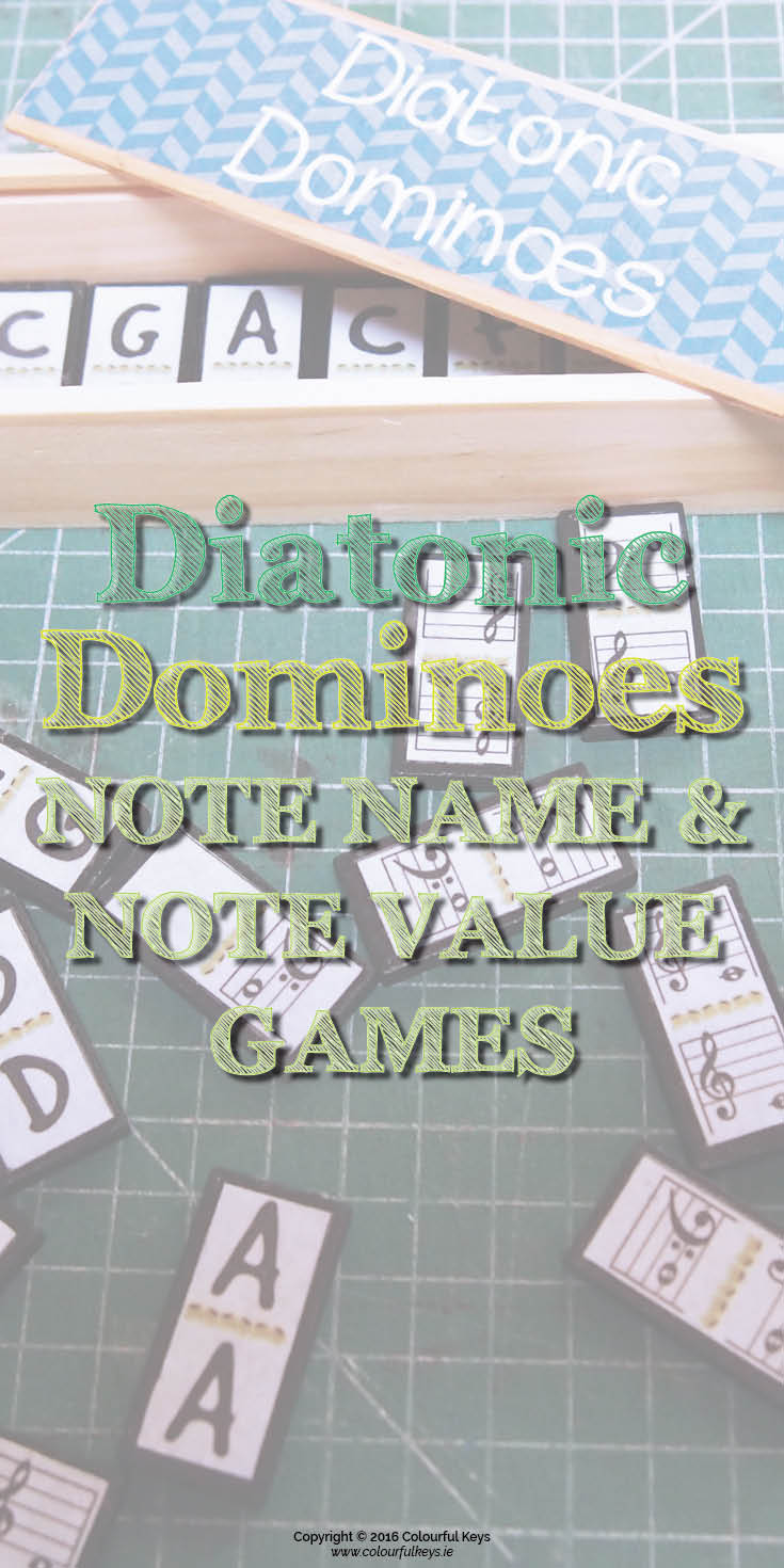 Diatonic dominoes note name game for music students.