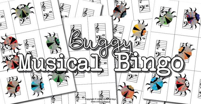 Buggy Bingo – Grand staff note name bingo game