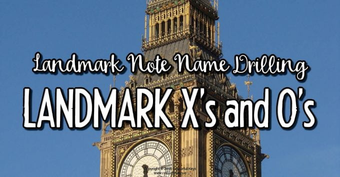 Landmark Note Naming Practice with Landmark Xs and Os Game