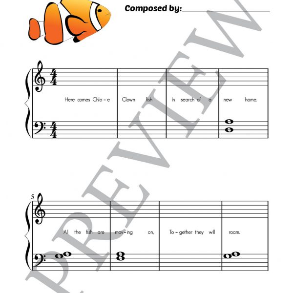 Fishy Fables composing book page 12