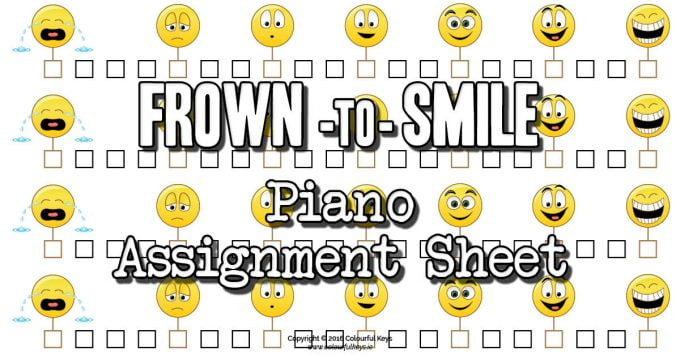 Frown to Smile Emoticon Assignment Sheets for Piano Students