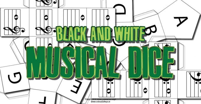 Black and white musical dice
