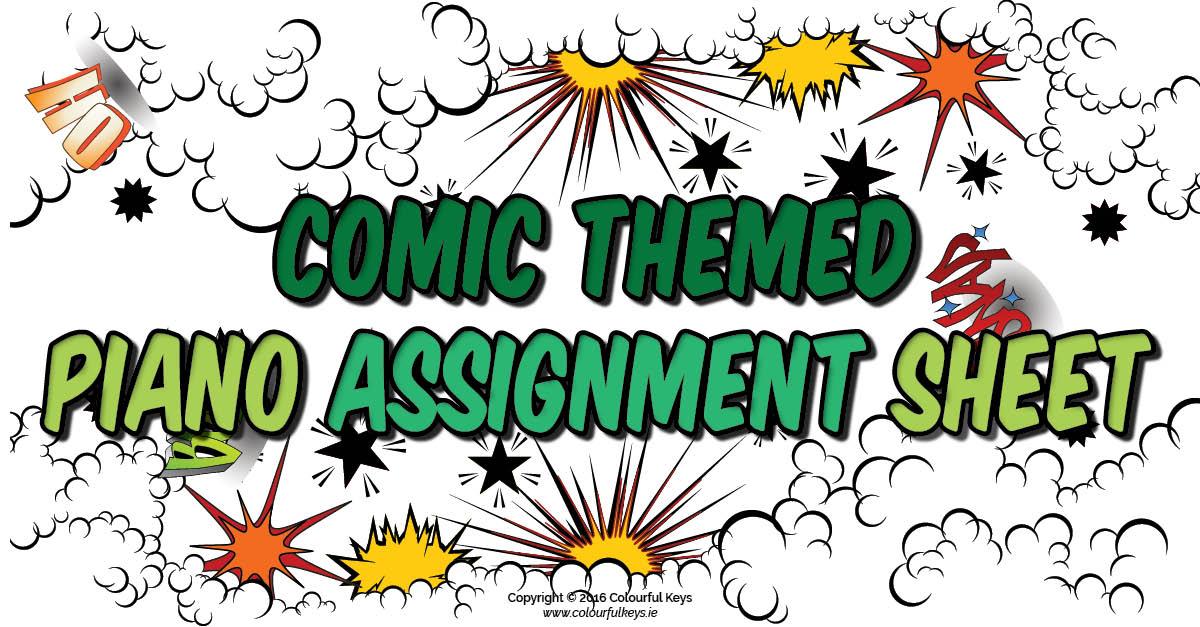 Comic piano assignment sheet
