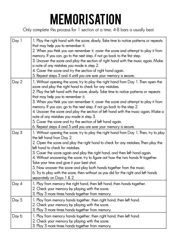 memorisation step-by-step