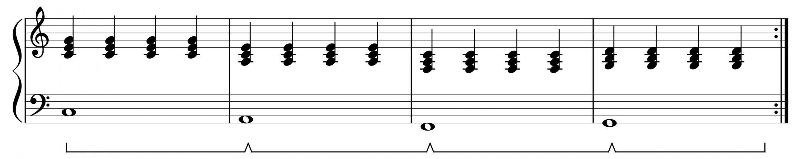 four chords in C legato pedal