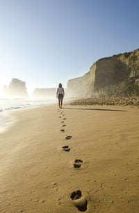 walking down a beach