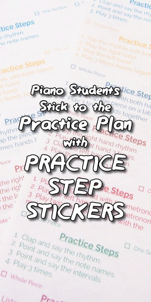 Piano practice step stickers