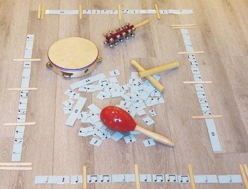 Proportional Rhythm Cards with rhythm instruments