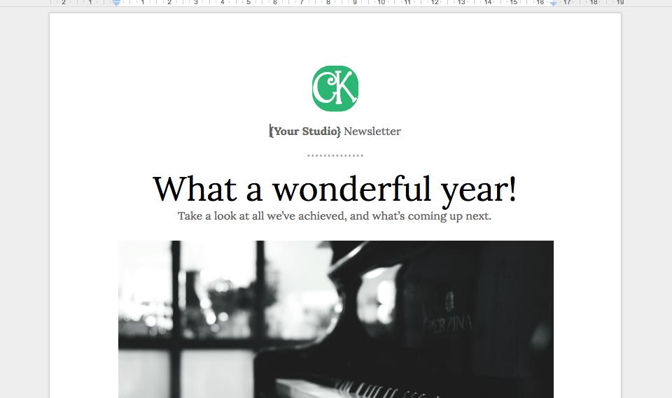 Music teaching studio newsletter template