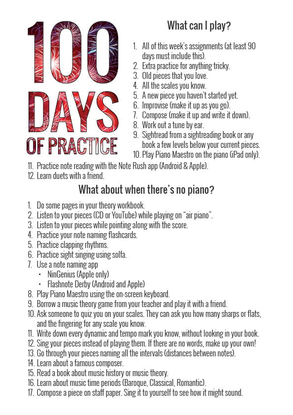 practice suggestions for the 100 day practice challenge