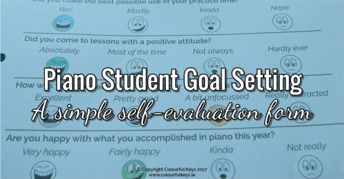 Piano student goal setting and evaluation worksheet