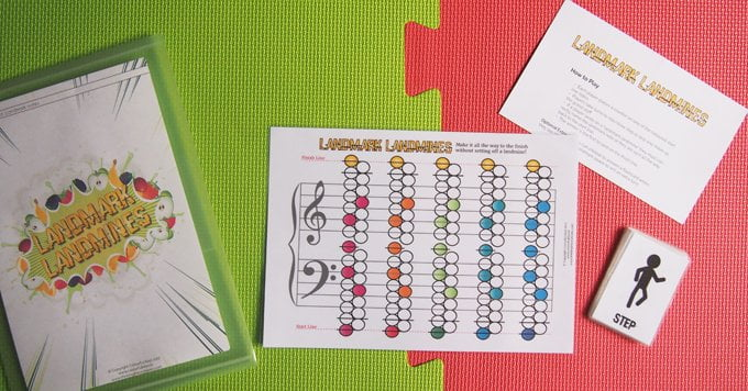 Landmark landmines piano teaching game