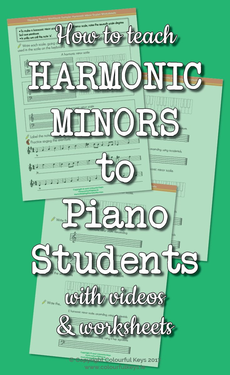 Worksheets for teaching harmonic minor scales to piano students