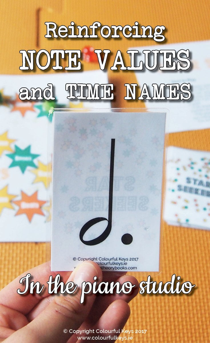 Note value game for teaching music theory