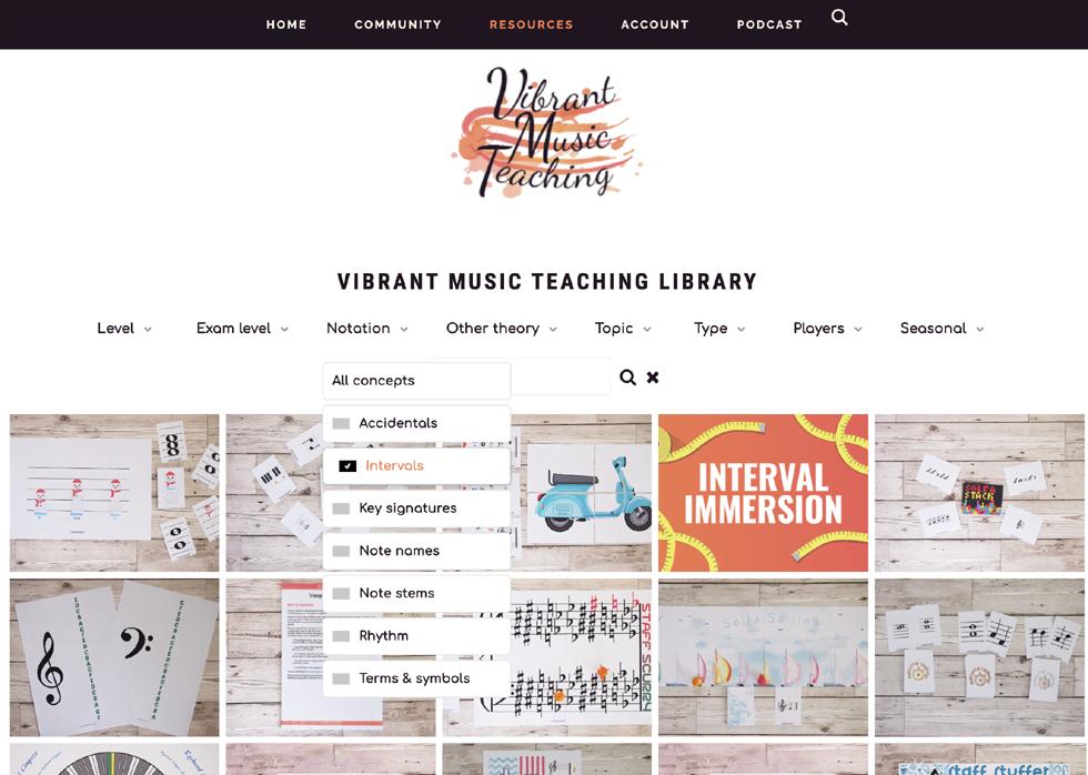 Vibrant Music Teaching VMT Printable Library