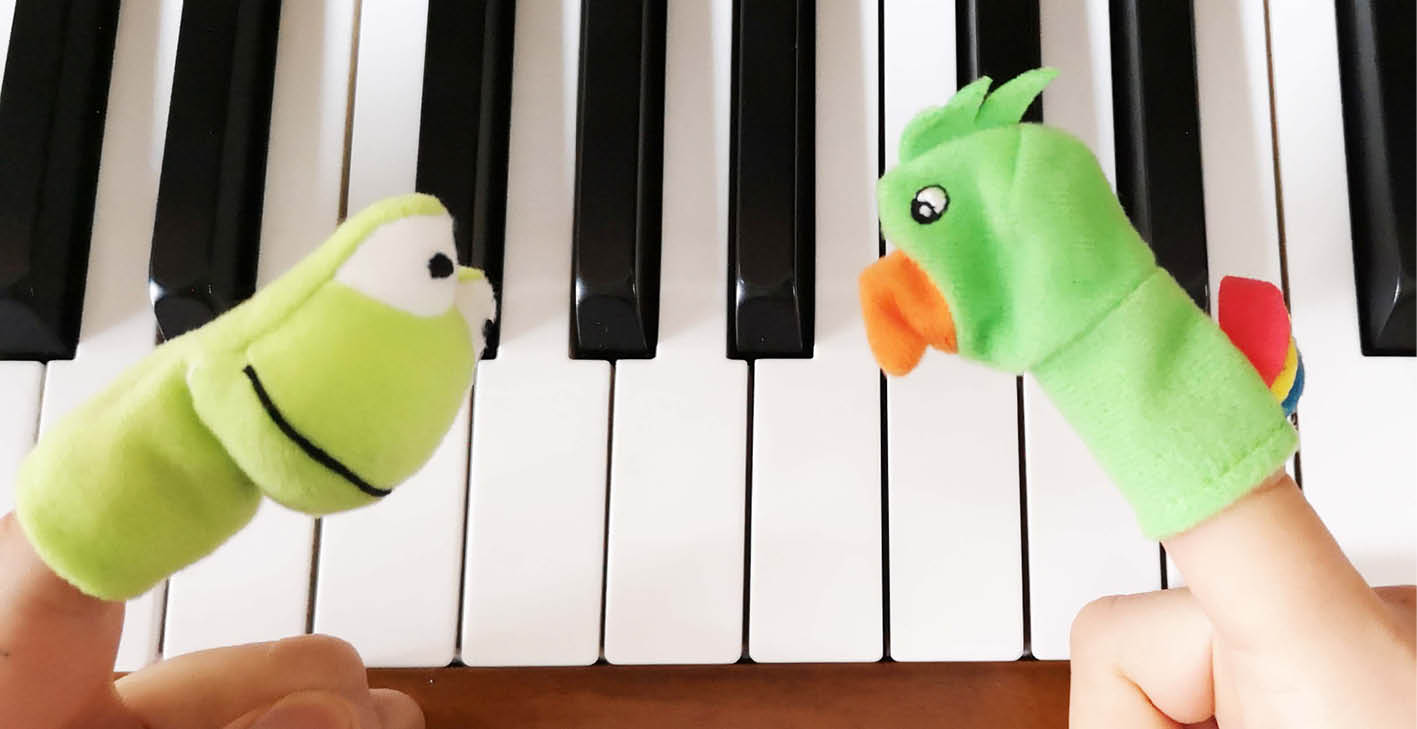 Using finger puppets to teach right/left coordination to piano students