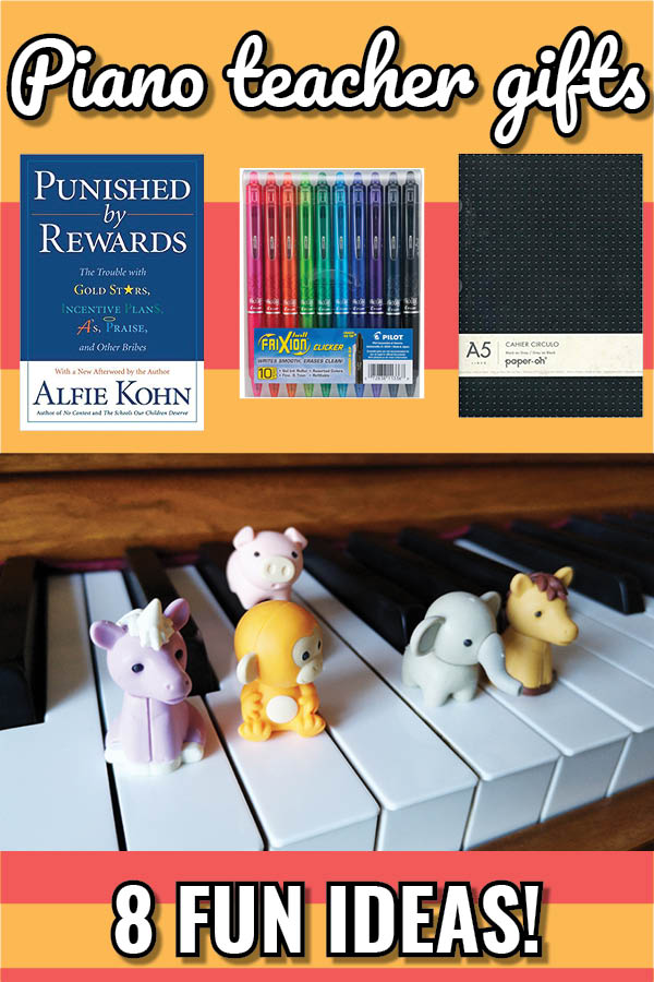 Really fun ideas for tokens of appreciation and gifts for piano teachers this Christmas!