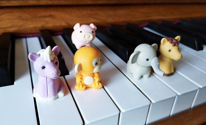 Iwako erasers on the piano keys