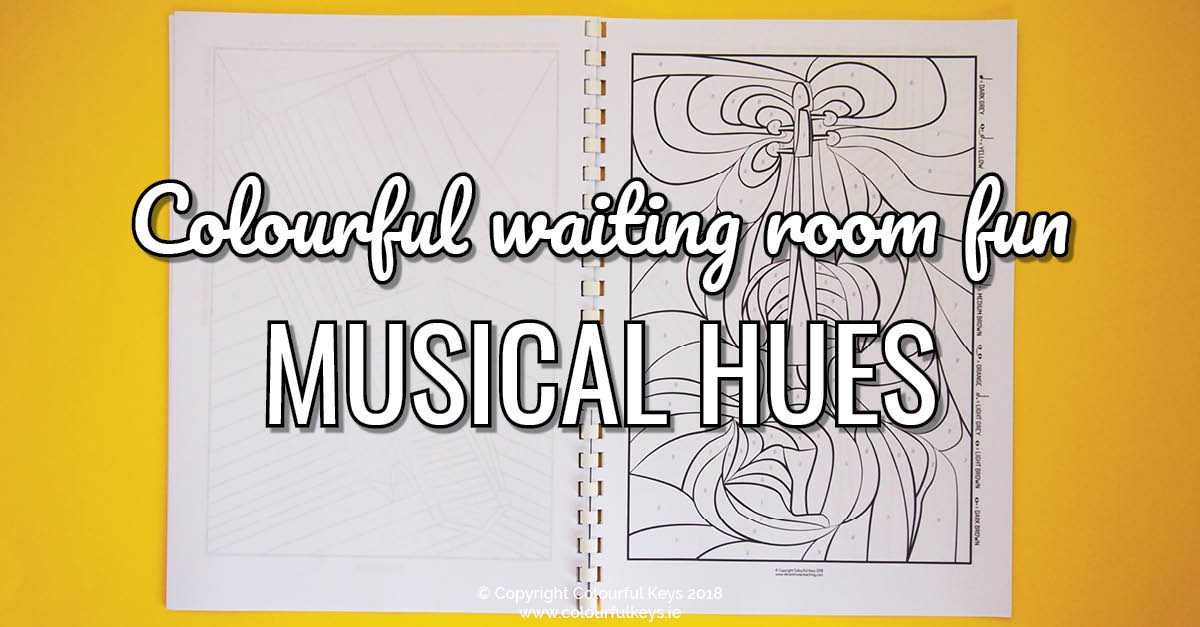 Musical Hues colouring book with a difference for music students
