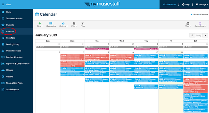 Calendar view in My Music Staff