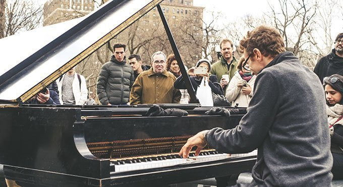Pianist playing for a crowd