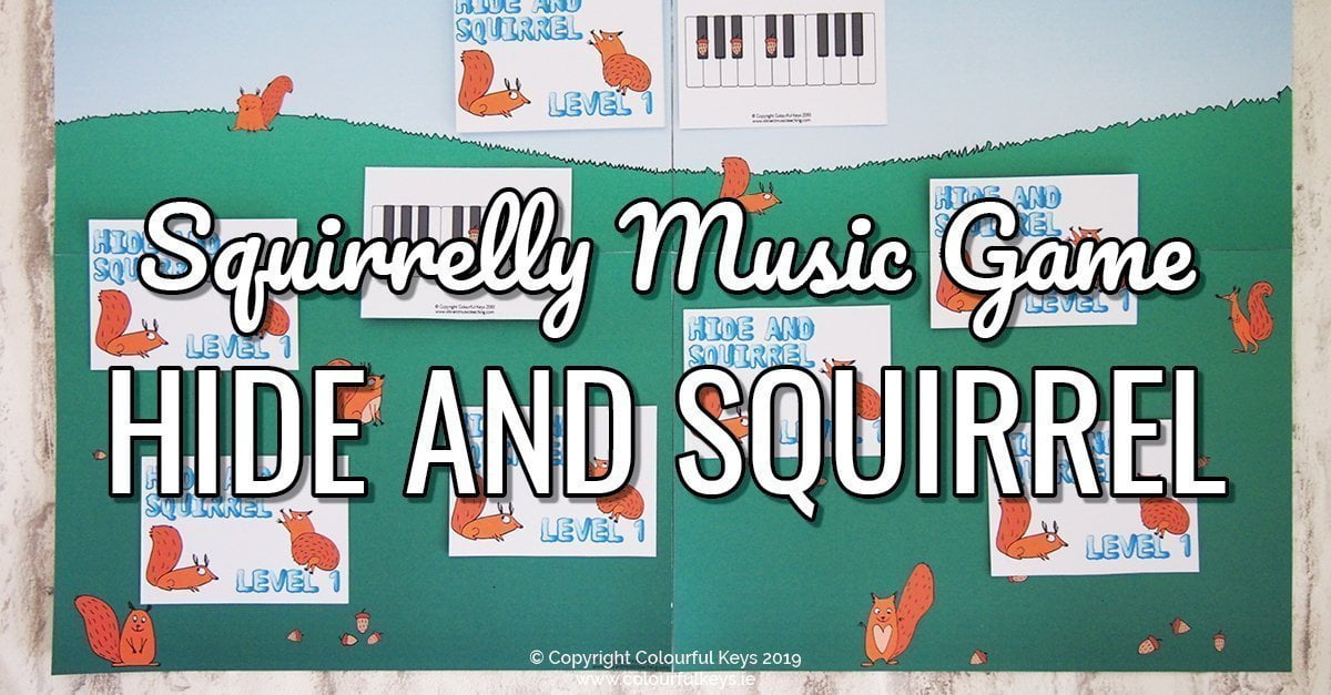 Solve September Squirrelliness with this piano chord game, Hide and Squirrel, a fun music theory game to work on piano chords.
