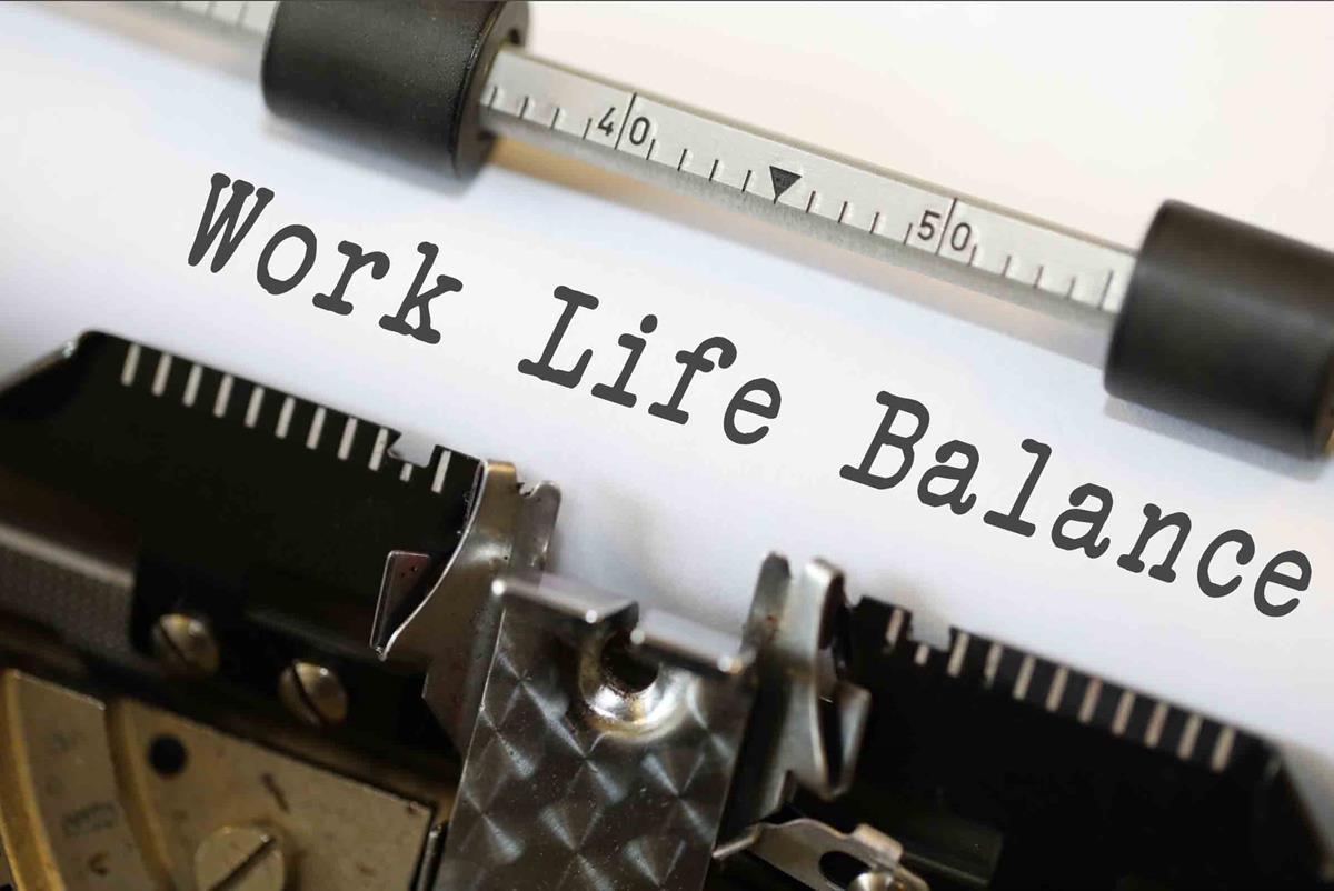 Typewriter showing 'work life balance'