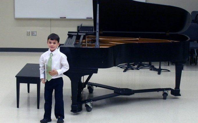 student at piano recital