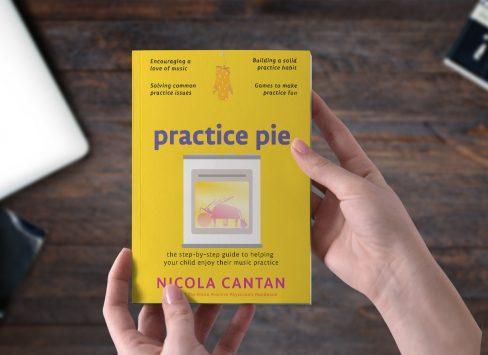 Practice Pie mockup with dark wood background